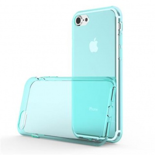 Cadorabo Hülle für Apple iPhone 7 / iPhone 7S / iPhone 8 - Hülle in TRANSPARENT BLAU ? Handyhülle aus TPU Silikon im Ultra Slim 'AIR' Design - Ultra Slim Soft Backcover Case Bumper