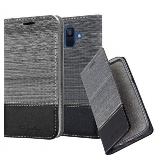 Cadorabo Hülle für Samsung Galaxy A6 2018 in GRAU SCHWARZ - Handyhülle mit Magnetverschluss, Standfunktion und Kartenfach - Case Cover Schutzhülle Etui Tasche Book Klapp Style