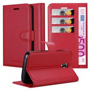 Cadorabo Hülle für WIKO SUNNY 3 MINI in KARMIN ROT - Handyhülle mit Magnetverschluss, Standfunktion und Kartenfach - Case Cover Schutzhülle Etui Tasche Book Klapp Style