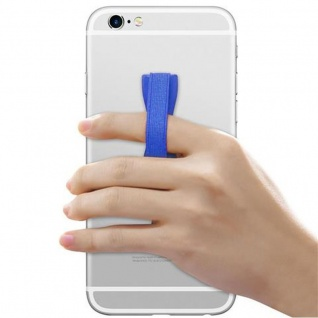 Cadorabo - Finger-Halterung Sling Grip für Smartphone / Tablet / iPod / eReader Griff Henkel Sling Schlaufe Riemen in BLAU - Vorschau 3