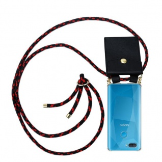 Cadorabo Handy Kette für Oppo A12 in SCHWARZ ROT Silikon Necklace Umhänge Hülle mit Gold Ringen, Kordel Band Schnur und abnehmbarem Etui Schutzhülle