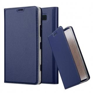 Cadorabo Hülle für Nokia Lumia 950 in CLASSY DUNKEL BLAU - Handyhülle mit Magnetverschluss, Standfunktion und Kartenfach - Case Cover Schutzhülle Etui Tasche Book Klapp Style