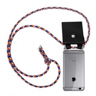 Cadorabo Handy Kette für Apple iPhone 6 PLUS / iPhone 6S PLUS in ORANGE BLAU WEISS - Silikon Necklace Umhänge Hülle mit Silber Ringen, Kordel Band Schnur und abnehmbarem Etui - Schutzhülle