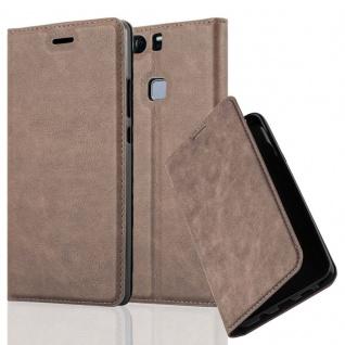 Cadorabo Hülle für Huawei P9 PLUS in KAFFEE BRAUN - Handyhülle mit Magnetverschluss, Standfunktion und Kartenfach - Case Cover Schutzhülle Etui Tasche Book Klapp Style