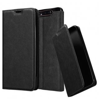 Cadorabo Hülle für Samsung Galaxy A80 in NACHT SCHWARZ - Handyhülle mit Magnetverschluss, Standfunktion und Kartenfach - Case Cover Schutzhülle Etui Tasche Book Klapp Style