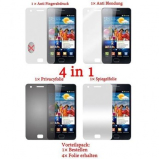 Cadorabo Displayschutzfolien für Samsung Galaxy S2 / S2 PLUS - Schutzfolien in HIGH CLEAR ? 4 Folien (1x Privacy - 1x Spiegel - 1x Matt - 1x Anti-Fingerabdruck)