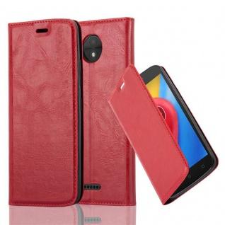 Cadorabo Hülle für Motorola MOTO C in APFEL ROT Handyhülle mit Magnetverschluss, Standfunktion und Kartenfach Case Cover Schutzhülle Etui Tasche Book Klapp Style