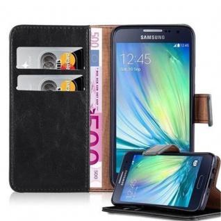 Cadorabo Hülle für Samsung Galaxy A3 2015 in GRAPHIT SCHWARZ - Handyhülle mit Magnetverschluss, Standfunktion und Kartenfach - Case Cover Schutzhülle Etui Tasche Book Klapp Style