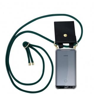 Cadorabo Handy Kette für Huawei P9 in ARMEE GRÜN - Silikon Necklace Umhänge Hülle mit Gold Ringen, Kordel Band Schnur und abnehmbarem Etui ? Schutzhülle