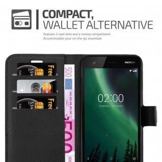 Cadorabo Hülle für Nokia 2 in PHANTOM SCHWARZ - Handyhülle mit Magnetverschluss, Standfunktion und Kartenfach - Case Cover Schutzhülle Etui Tasche Book Klapp Style - Vorschau 4