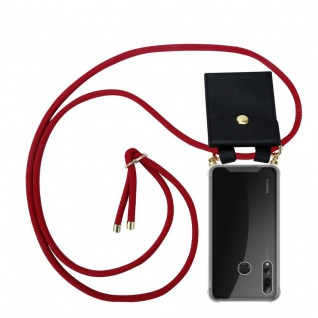 Cadorabo Handy Kette für Huawei P SMART PLUS 2019 in RUBIN ROT Silikon Necklace Umhänge Hülle mit Gold Ringen, Kordel Band Schnur und abnehmbarem Etui Schutzhülle