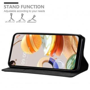Cadorabo Hülle für LG K61 in NACHT SCHWARZ Handyhülle mit Magnetverschluss, Standfunktion und Kartenfach Case Cover Schutzhülle Etui Tasche Book Klapp Style