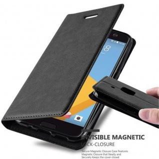 Cadorabo Hülle für HTC 10 (One M10) in NACHT SCHWARZ - Handyhülle mit Magnetverschluss, Standfunktion und Kartenfach - Case Cover Schutzhülle Etui Tasche Book Klapp Style