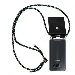 Cadorabo Handy Kette für Samsung Galaxy S7 in CAMOUFLAGE Silikon Necklace Umhänge Hülle mit Silber Ringen, Kordel Band Schnur und abnehmbarem Etui Schutzhülle