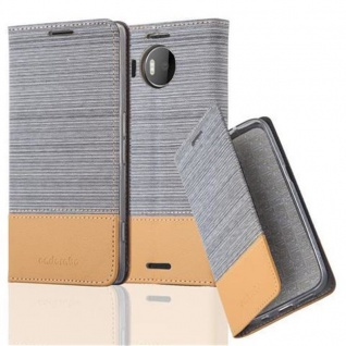 Cadorabo Hülle für Nokia Lumia 950 XL in HELL GRAU BRAUN Handyhülle mit Magnetverschluss, Standfunktion und Kartenfach Case Cover Schutzhülle Etui Tasche Book Klapp Style