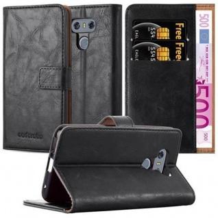 Cadorabo Hülle für LG G6 in GRAPHIT SCHWARZ - Handyhülle mit Magnetverschluss, Standfunktion und Kartenfach - Case Cover Schutzhülle Etui Tasche Book Klapp Style