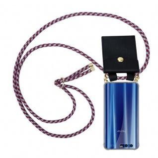 Cadorabo Handy Kette für Honor 9 in ROT WEISS - Silikon Necklace Umhänge Hülle mit Gold Ringen, Kordel Band Schnur und abnehmbarem Etui ? Schutzhülle