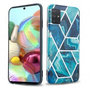 Cadorabo Hülle für Samsung Galaxy A71 4G Hülle in Blaue Welle Marmor No.13 Handyhülle aus TPU Silikon mit Muster Mosaik Silikonhülle Schutzhülle Ultra Slim Back Cover Case Bumper