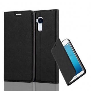 Cadorabo Hülle für Honor 5C in NACHT SCHWARZ - Handyhülle mit Magnetverschluss, Standfunktion und Kartenfach - Case Cover Schutzhülle Etui Tasche Book Klapp Style