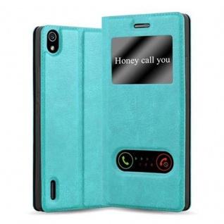 Cadorabo Hülle für Huawei P7 in MINT TÜRKIS - Handyhülle mit Magnetverschluss, Standfunktion und 2 Sichtfenstern - Case Cover Schutzhülle Etui Tasche Book Klapp Style