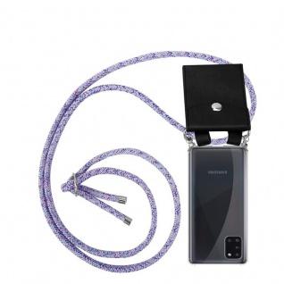 Cadorabo Handy Kette für Samsung Galaxy A31 in UNICORN Silikon Necklace Umhänge Hülle mit Silber Ringen, Kordel Band Schnur und abnehmbarem Etui Schutzhülle
