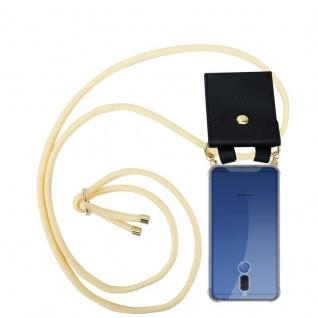 Cadorabo Handy Kette für Huawei MATE 10 LITE in CREME BEIGE - Silikon Necklace Umhänge Hülle mit Gold Ringen, Kordel Band Schnur und abnehmbarem Etui ? Schutzhülle