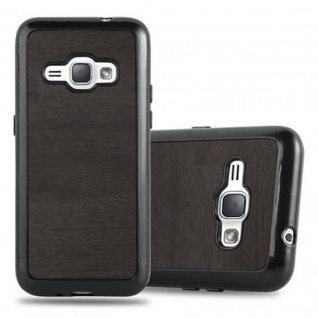 Cadorabo Hülle für Samsung Galaxy J1 2016 in WOODEN SCHWARZ ? Handyhülle aus flexiblem TPU Silikon ? Silikonhülle Schutzhülle Ultra Slim Soft Back Cover Case Bumper