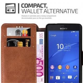 Cadorabo Hülle für Sony Xperia Z3 COMPACT - Hülle in MATT BRAUN ? Handyhülle mit Standfunktion und Kartenfach im Retro Design - Case Cover Schutzhülle Etui Tasche Book Klapp Style
