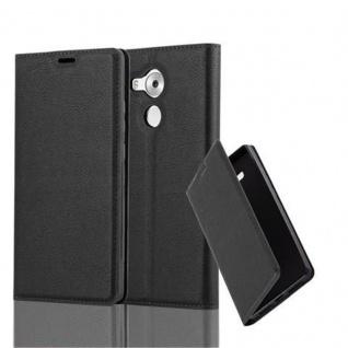 Cadorabo Hülle für Huawei MATE 8 in NACHT SCHWARZ Handyhülle mit Magnetverschluss, Standfunktion und Kartenfach Case Cover Schutzhülle Etui Tasche Book Klapp Style