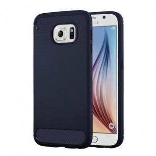 Cadorabo Hülle für Samsung Galaxy S6 - Hülle in BRUSHED BLAU - Handyhülle aus TPU Silikon in Edelstahl-Karbonfaser Optik - Silikonhülle Schutzhülle Ultra Slim Soft Back Cover Case Bumper