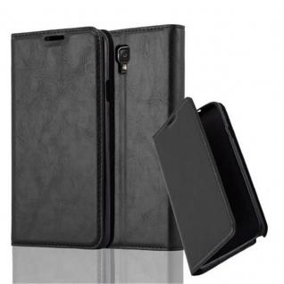 Cadorabo Hülle für Samsung Galaxy NOTE 3 NEO in NACHT SCHWARZ - Handyhülle mit Magnetverschluss, Standfunktion und Kartenfach - Case Cover Schutzhülle Etui Tasche Book Klapp Style