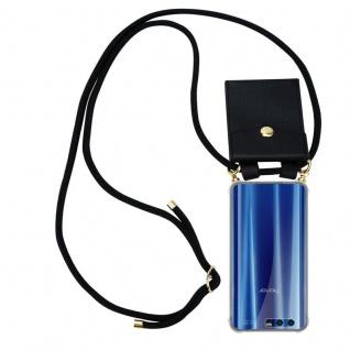 Cadorabo Handy Kette für Honor 9 in SCHWARZ - Silikon Necklace Umhänge Hülle mit Gold Ringen, Kordel Band Schnur und abnehmbarem Etui ? Schutzhülle