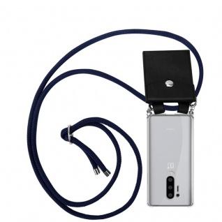 Cadorabo Handy Kette für Oneplus 8 pro in TIEF BLAU Silikon Necklace Umhänge Hülle mit Silber Ringen, Kordel Band Schnur und abnehmbarem Etui Schutzhülle