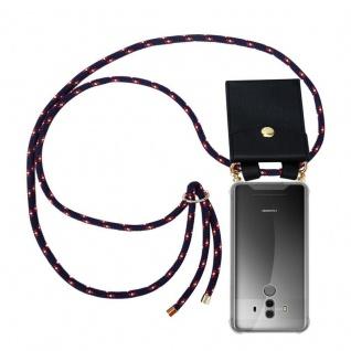 Cadorabo Handy Kette für Huawei MATE 10 PRO in BLAU ROT WEISS GEPUNKTET - Silikon Necklace Umhänge Hülle mit Gold Ringen, Kordel Band Schnur und abnehmbarem Etui ? Schutzhülle