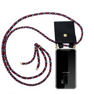 Cadorabo Handy Kette für Samsung Galaxy S9 PLUS in ROT BLAU WEISS Silikon Necklace Umhänge Hülle mit Gold Ringen, Kordel Band Schnur und abnehmbarem Etui Schutzhülle
