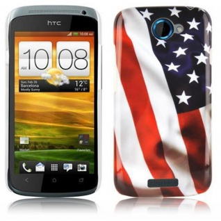 Cadorabo - Hard Cover für HTC ONE S - Case Cover Schutzhülle Bumper im Design: STARS AND STRIPES