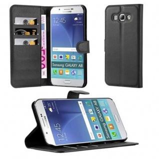 Cadorabo Hülle für Samsung Galaxy A8 2015 in PHANTOM SCHWARZ - Handyhülle mit Magnetverschluss, Standfunktion und Kartenfach - Case Cover Schutzhülle Etui Tasche Book Klapp Style