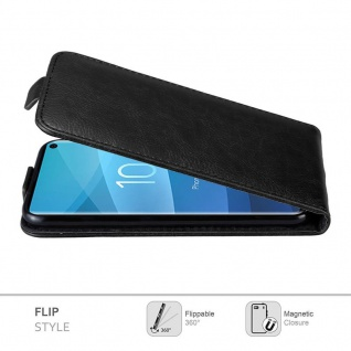 Cadorabo Hülle für Samsung Galaxy S10 in NACHT SCHWARZ - Handyhülle im Flip Design mit Magnetverschluss - Case Cover Schutzhülle Etui Tasche Book Klapp Style - Vorschau 3