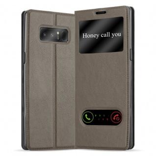 Cadorabo Hülle für Samsung Galaxy NOTE 8 in STEIN BRAUN - Handyhülle mit Magnetverschluss, Standfunktion und 2 Sichtfenstern - Case Cover Schutzhülle Etui Tasche Book Klapp Style