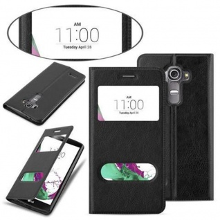 Cadorabo Hülle für LG G4 / G4 PLUS in KOMETEN SCHWARZ Handyhülle mit Magnetverschluss, Standfunktion und 2 Sichtfenstern Case Cover Schutzhülle Etui Tasche Book Klapp Style - Vorschau 3