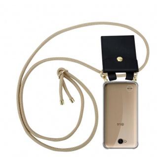 Cadorabo Handy Kette für LG X Power 2 in GLÄNZEND BRAUN - Silikon Necklace Umhänge Hülle mit Gold Ringen, Kordel Band Schnur und abnehmbarem Etui ? Schutzhülle