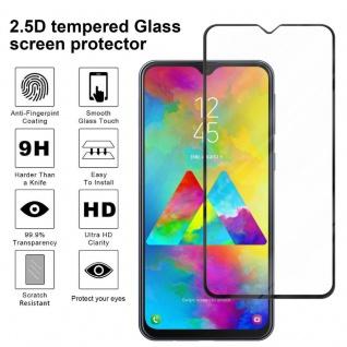 Cadorabo Vollbild Panzer Folie für Samsung Galaxy M20 - Schutzfolie in TRANSPARENT mit SCHWARZ - Gehärtetes (Tempered) Display-Schutzglas in 9H Härte mit 3D Touch Kompatibilität - Vorschau 3