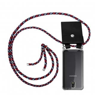 Cadorabo Handy Kette für Samsung Galaxy NOTE 3 in ROT BLAU WEISS - Silikon Necklace Umhänge Hülle mit Silber Ringen, Kordel Band Schnur und abnehmbarem Etui - Schutzhülle