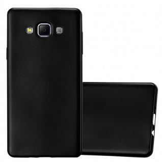 Cadorabo Hülle für Samsung Galaxy A7 2015 in METALLIC SCHWARZ - Handyhülle aus flexiblem TPU Silikon - Silikonhülle Schutzhülle Ultra Slim Soft Back Cover Case Bumper