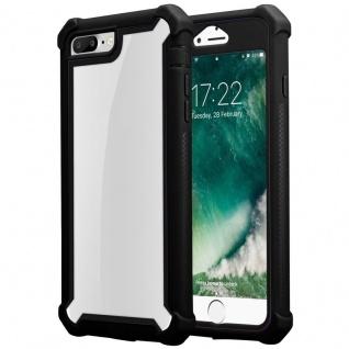 Cadorabo Hülle für Apple iPhone 7 PLUS / 7S PLUS / 8 PLUS in ERLEN SCHWARZ - 2-in-1 Handyhülle mit TPU Silikon-Rand und Acryl-Glas-Rücken - Schutzhülle Hybrid Hardcase Back Case