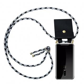 Cadorabo Handy Kette für OnePlus 7 in SCHWARZ CAMOUFLAGE - Silikon Necklace Umhänge Hülle mit Gold Ringen, Kordel Band Schnur und abnehmbarem Etui ? Schutzhülle