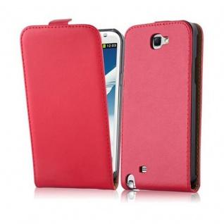Cadorabo Hülle für Samsung Galaxy NOTE 2 in CHILI ROT - Handyhülle im Flip Design aus glattem Kunstleder - Case Cover Schutzhülle Etui Tasche Book Klapp Style