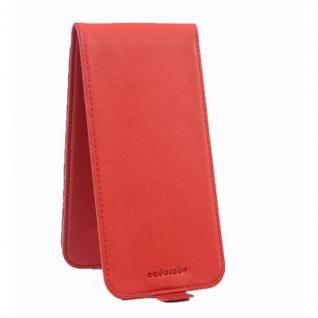Cadorabo Hülle für Sony Xperia M5 in INFERNO ROT - Handyhülle im Flip Design aus strukturiertem Kunstleder - Case Cover Schutzhülle Etui Tasche Book Klapp Style - Vorschau 2