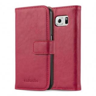 Cadorabo Hülle für Samsung Galaxy S6 in WEIN ROT Handyhülle mit Magnetverschluss, Standfunktion und Kartenfach Case Cover Schutzhülle Etui Tasche Book Klapp Style