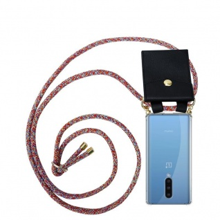 Cadorabo Handy Kette für Oneplus 8 in COLORFUL PARROT Silikon Necklace Umhänge Hülle mit Gold Ringen, Kordel Band Schnur und abnehmbarem Etui Schutzhülle